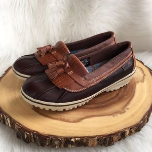 L. L. Bean leather and fringe waterproof moccasins